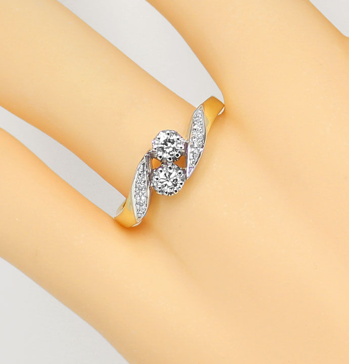 Foto 5, Diamantring mit 0,29ct Brillanten und Diamanten Bicolor, S9376