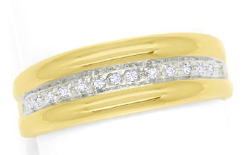 Foto 1, Diamantring Goldbandring mit 0,1ct Diamanten in 14K/585, S9383
