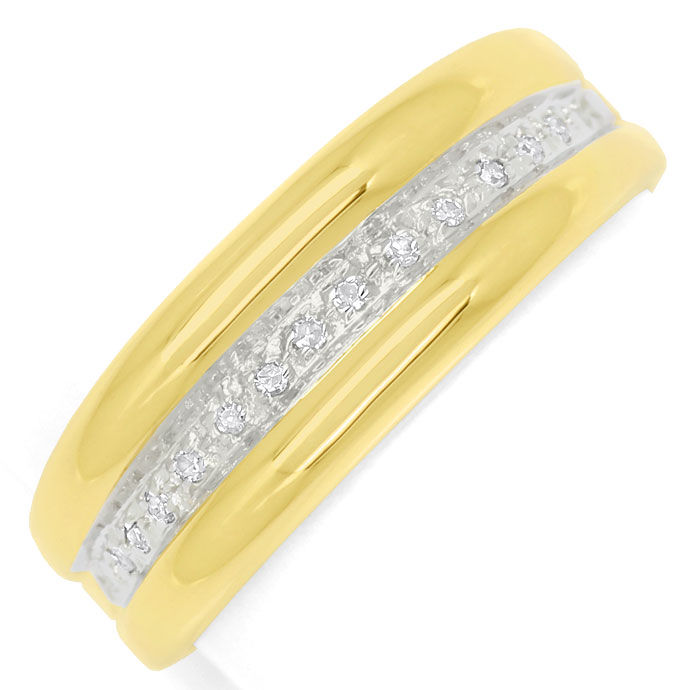 Foto 2, Diamantring Goldbandring mit 0,1ct Diamanten in 14K/585, S9383