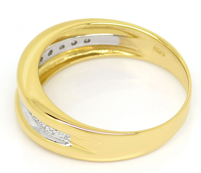 Foto 3, Diamantring Goldbandring mit 0,1ct Diamanten in 14K/585, S9383