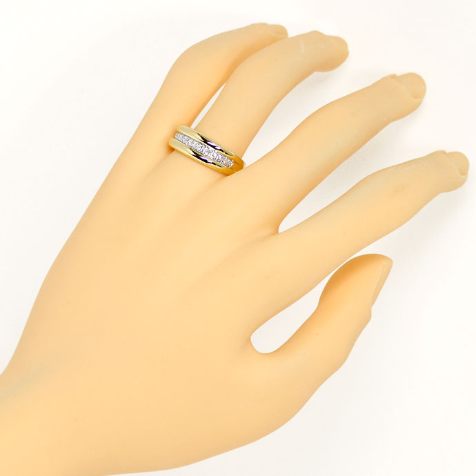 Foto 4, Diamantring Goldbandring mit 0,1ct Diamanten in 14K/585, S9383