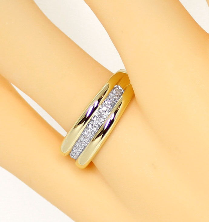 Foto 5, Diamantring Goldbandring mit 0,1ct Diamanten in 14K/585, S9383