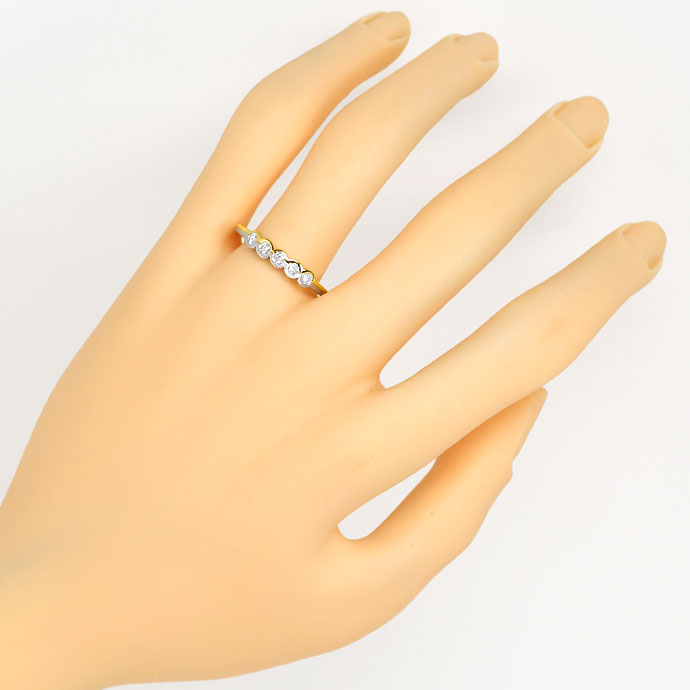 Foto 4, Brillanten Halbmemory Ring mit 0,25ct Brillanten in 18K, S9396