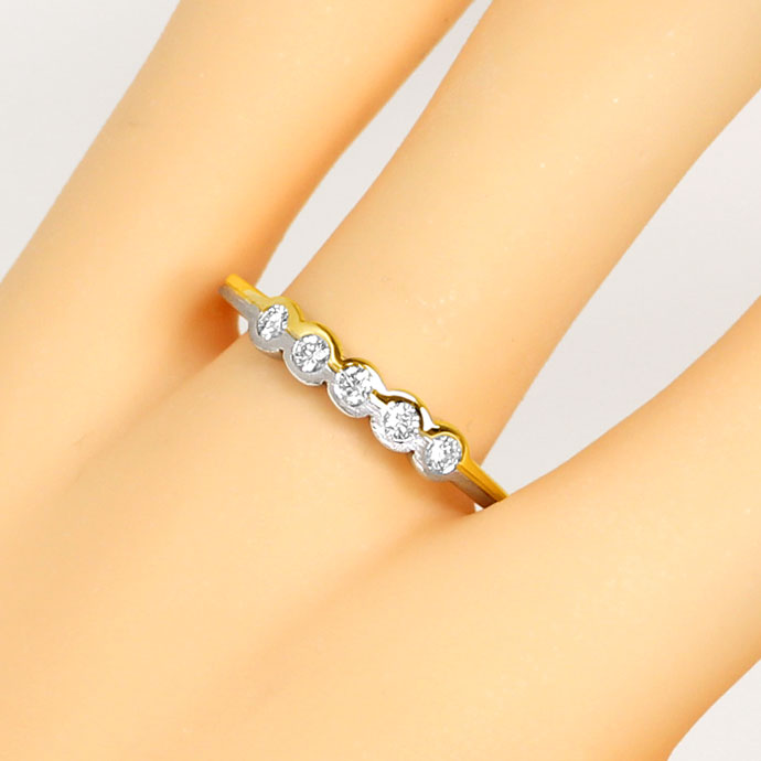 Foto 5, Brillanten Halbmemory Ring mit 0,25ct Brillanten in 18K, S9396