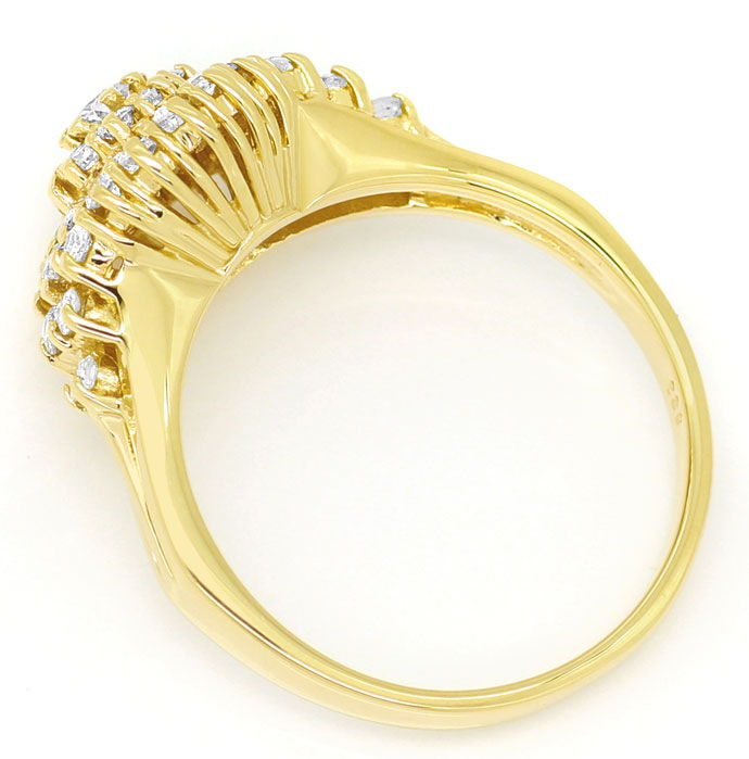Foto 3, Dekorativer Gelbgold Diamantring mit 0,70ct Brillianten, S9398