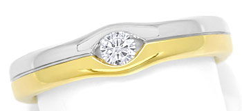 Foto 1, Attraktiver Diamantring mit 0,12ct Brillant 14K Bicolor, S9401