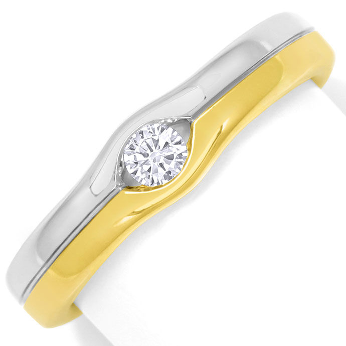 Foto 2, Attraktiver Diamantring mit 0,12ct Brillant 14K Bicolor, S9401