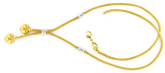 Foto 1, Herz Strumpf Kollier, Gelbgold Weissgold Collier Luxus!, S9411