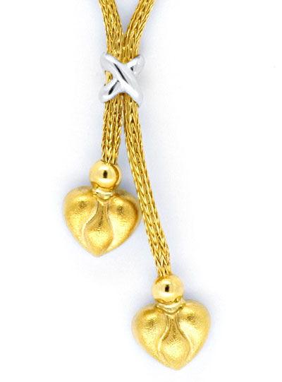 Foto 2, Herz Strumpf Kollier, Gelbgold Weissgold Collier Luxus!, S9411