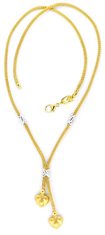 Foto 3, Herz Strumpf Kollier, Gelbgold Weissgold Collier Luxus!, S9411