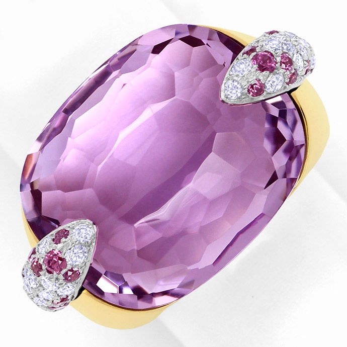 Pomellato Ring Pin Up, Amethyst, Rhodolithe, Brillanten, Edelstein Farbstein Ring