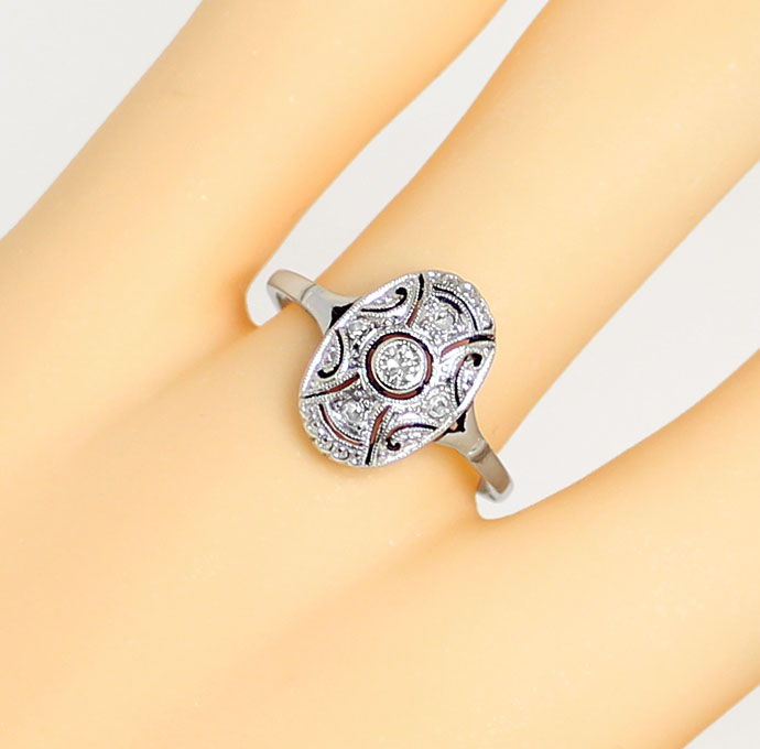 Foto 5 - Antiker Ring Art Deco mit Diamanten in Weissgold Platin, S9434