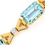 Armband 52,5 ct Traum Aquamarine, Diamanten, 18K Platin
