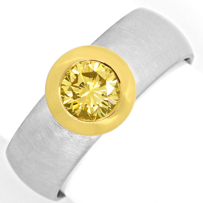 Platin Goldring 0,77ct extrem Gold Gelb Brillantsolitär, Designer Ring