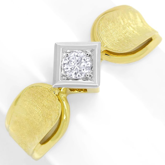 Diamantring 0,15ct River Brillant Solitär, Bicolor Gold, Designer Ring