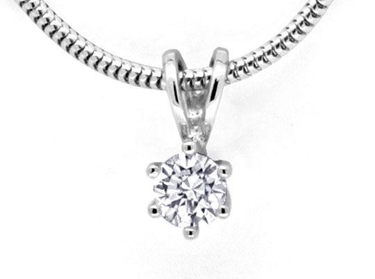 Foto 2, Brillantkollier Weissgold Collier 0,28ct Diamant Luxus!, S9455