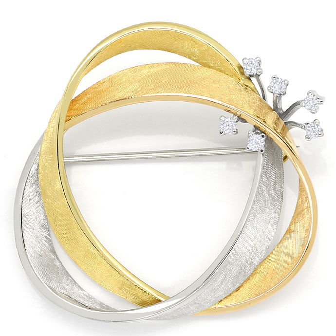 Foto 2, Diamantbrosche 0,19ct River Brillanten 18K Bicolor Gold, S9463