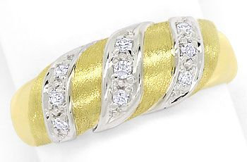 Foto 1, Diamantenring mit Lupenreinen Diamanten in Bicolor-Gold, S9470
