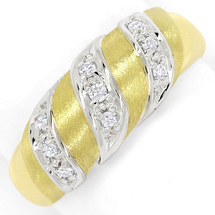 Foto 2, Diamantenring mit Lupenreinen Diamanten in Bicolor-Gold, S9470