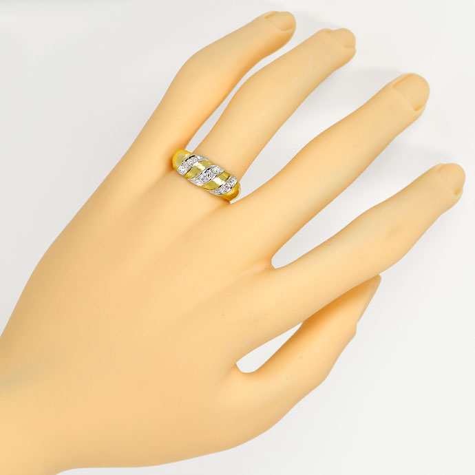 Foto 4, Diamantenring mit Lupenreinen Diamanten in Bicolor-Gold, S9470