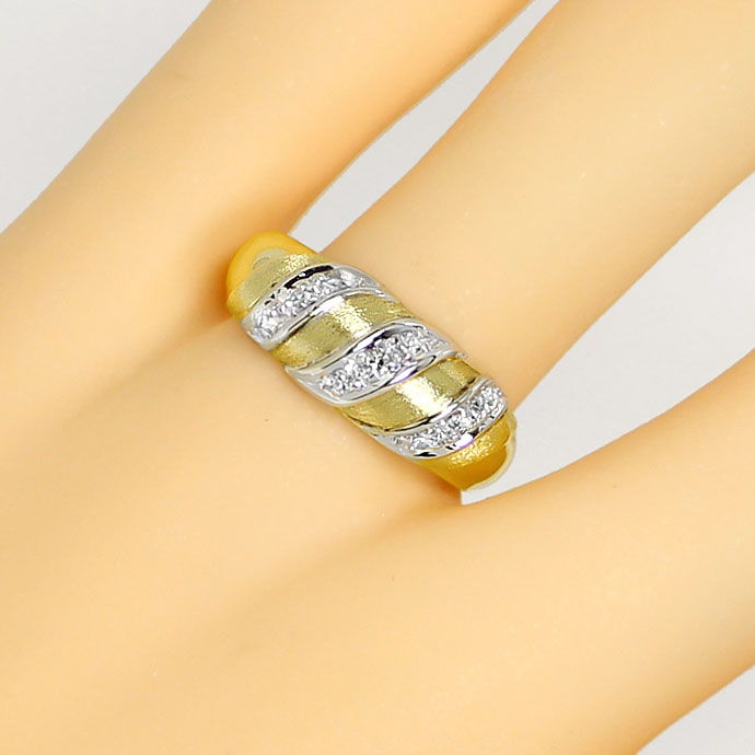 Foto 5, Diamantenring mit Lupenreinen Diamanten in Bicolor-Gold, S9470