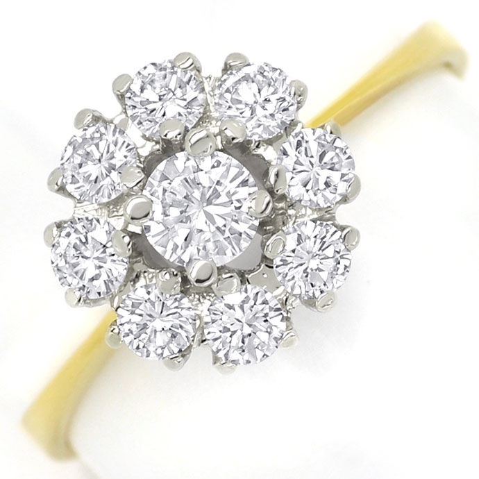 Foto 2, Diamantenring mit 0,71ct Brillanten in 18K Bicolor Gold, S9479