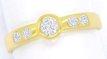Foto 1, Diamantring mit 0,42ct Brillianten, massiv 14K Gelbgold, S9483
