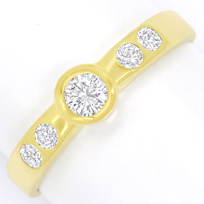Foto 2, Diamantring mit 0,42ct Brillianten, massiv 14K Gelbgold, S9483