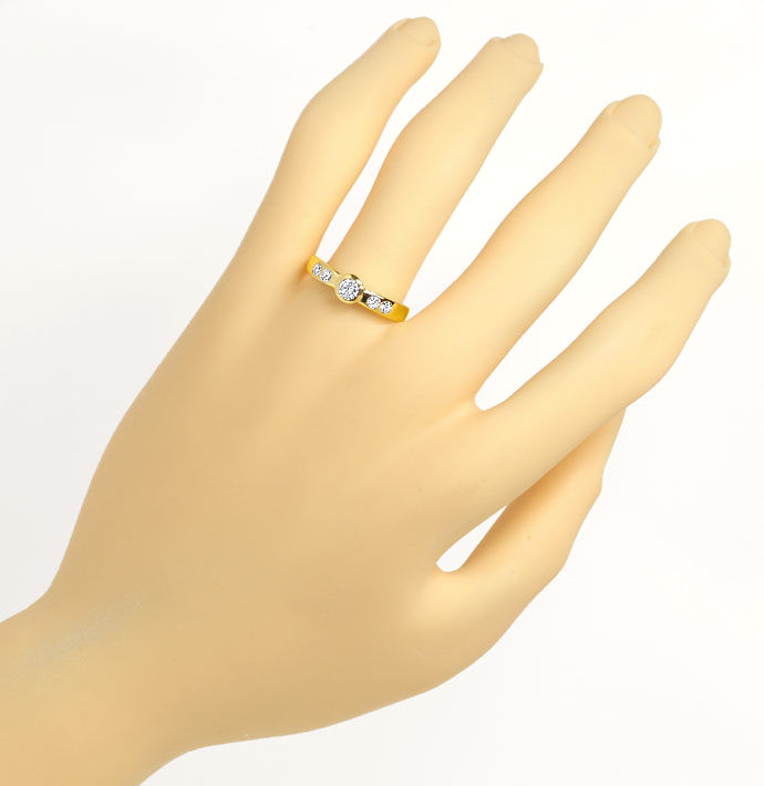 Foto 4, Diamantring mit 0,42ct Brillianten, massiv 14K Gelbgold, S9483