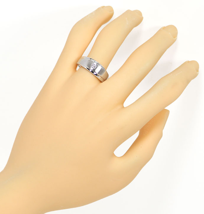 Foto 4, Design-Diamantbandring mit 0,12ct Brillant in Weissgold, S9492