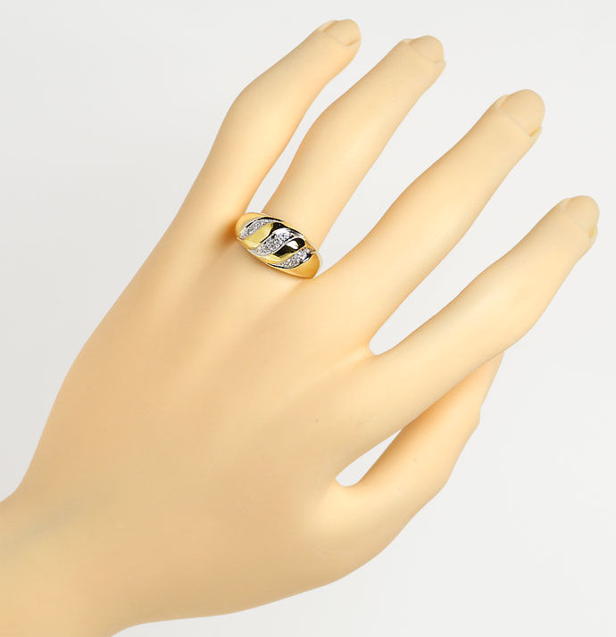 Foto 4, Dekorativer Diamantbandring mit 0,11ct Diamanten in 14K, S9498