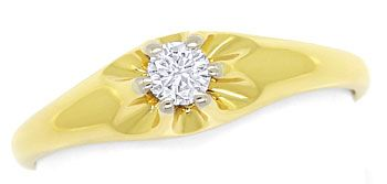 Foto 1, Diamantring mit 0,15ct Brillant-Solitär in 14K/585 Gold, S9507