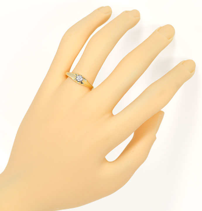 Foto 4, Diamantring mit 0,15ct Brillant Solitär in 14K/585 Gold, S9507