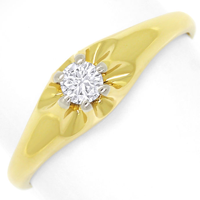 Diamantring mit 0,15ct Brillant Solitär in 14K/585 Gold, Designer Ring