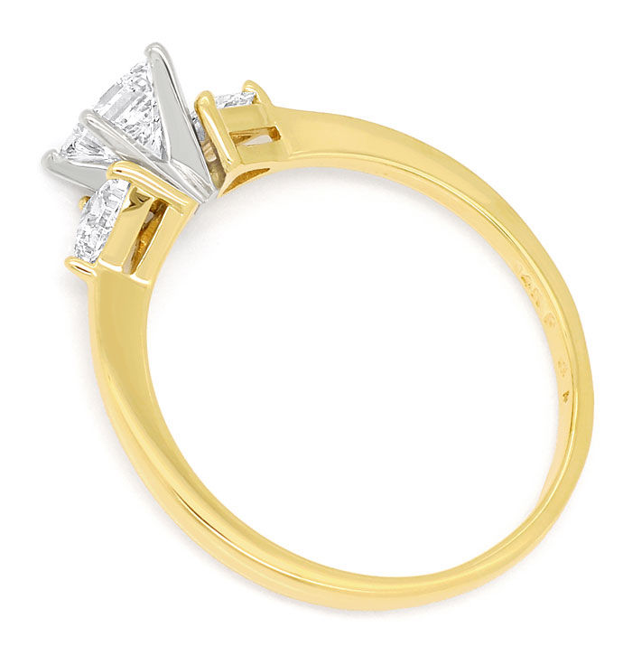 Foto 3, Gold-Ring 0,57ct Princess-Diamant und 0,34ct Trillanten, S9509
