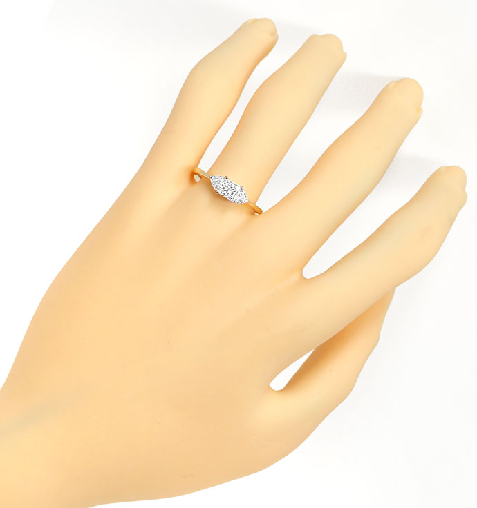 Foto 4, Gold-Ring 0,57ct Princess-Diamant und 0,34ct Trillanten, S9509