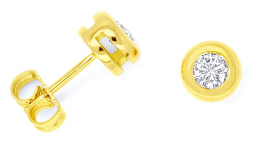 Foto 1, Brilliant Zargen Ohrstecker 0,48ct 18K Gelb Gold Luxus!, S9523