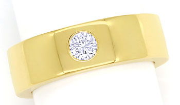 Foto 1, Gelbgoldring Brillant 0,27ct Lupenrein Wesselton in 18K, S9535