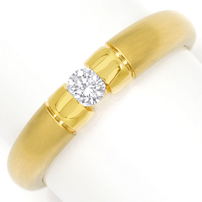Foto 2, Toller Gold Spann Ring mit 0,20ct River Brillant in 14K, S9540