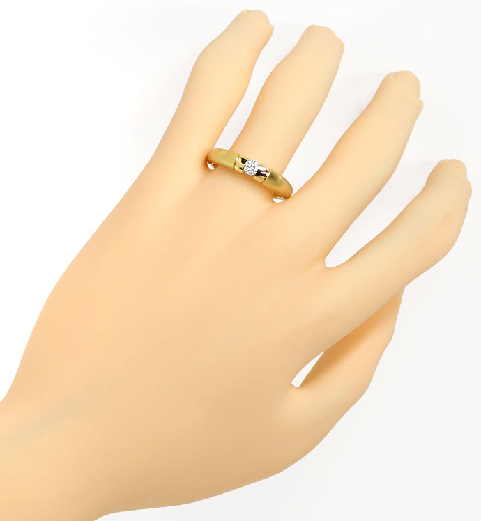 Foto 4, Toller Gold Spann Ring mit 0,20ct River Brillant in 14K, S9540