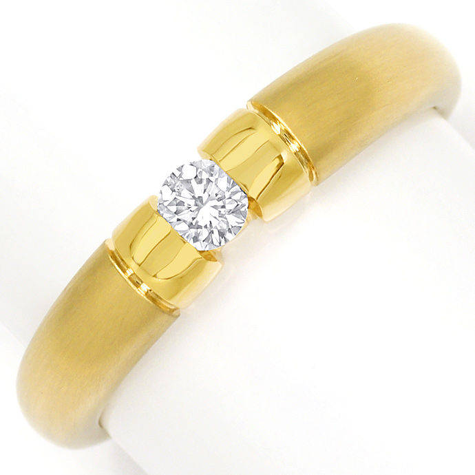 Toller Gold Spann Ring mit 0,20ct River Brillant in 14K, Designer Ring