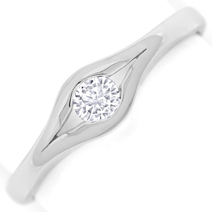 Diamantring mit 0,14ct River Lupenrein in 585 Weissgold, Designer Ring
