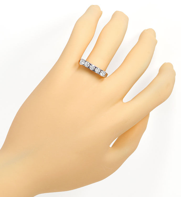 Foto 4, Halbmemory Ring mit 1,0ct River Brillanten in Weissgold, S9553
