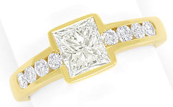 Foto 1, Gelbgold Ring 1,10ct Princess Cut und 0,44ct Brillanten, S9560