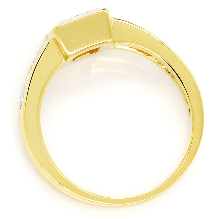 Foto 3, Gelbgold Ring 1,10ct Princess Cut und 0,44ct Brillanten, S9560