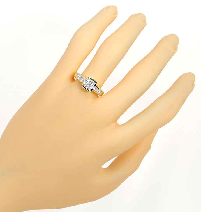 Foto 4, Gelbgold Ring 1,10ct Princess Cut und 0,44ct Brillanten, S9560