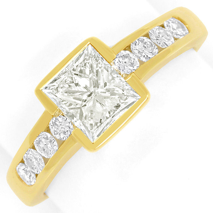 Gelbgold Ring 1,10ct Princess Cut und 0,44ct Brillanten, Designer Ring