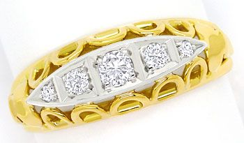 Foto 1, Goldring mit 0,20ct Brillanten und Diamanten in Bicolor, S9563