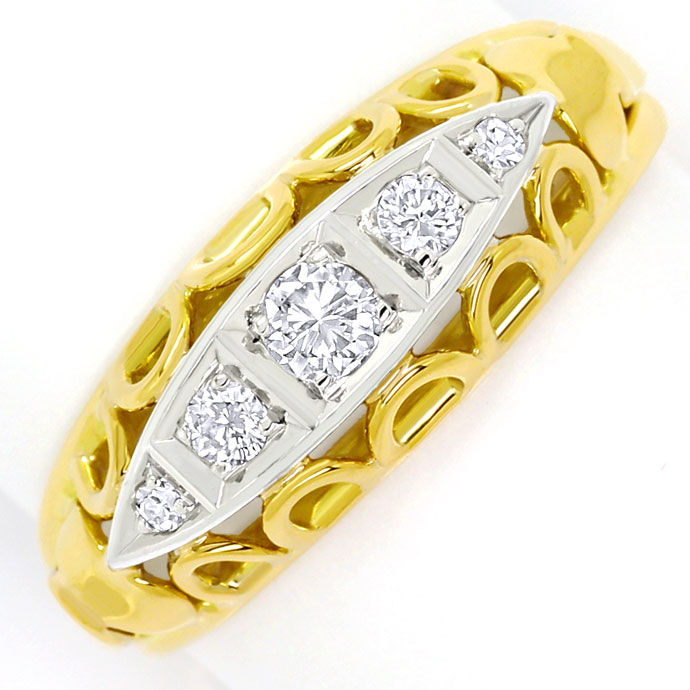 Foto 2, Goldring mit 0,20ct Brillanten und Diamanten in Bicolor, S9563