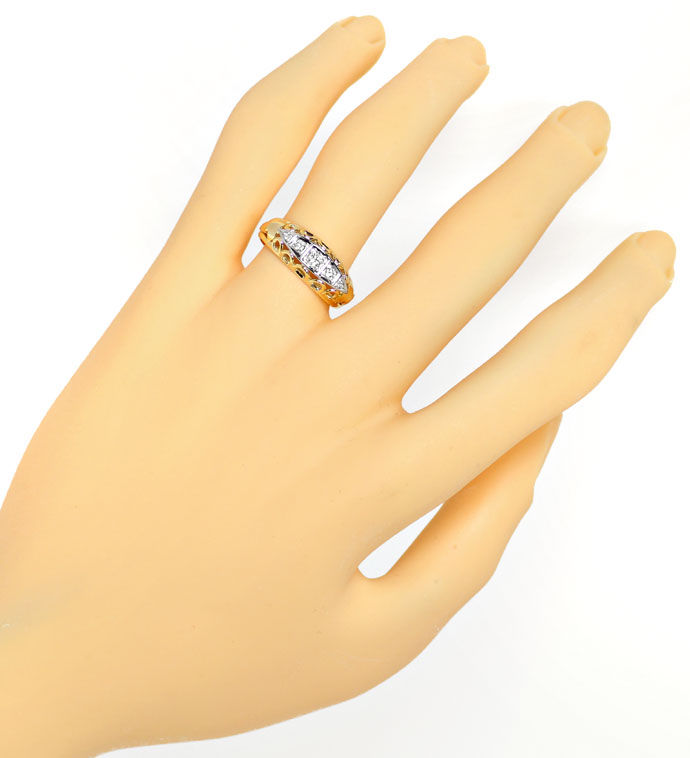 Foto 4, Goldring mit 0,20ct Brillanten und Diamanten in Bicolor, S9563